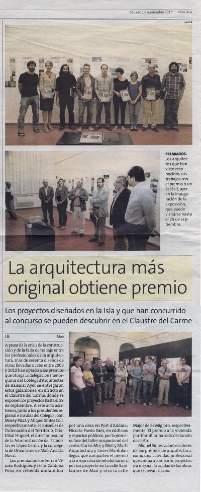 notícia premis arquitectura menorca 2014